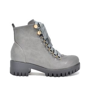 Women's Lace Up Grey Ankle Combat Boot